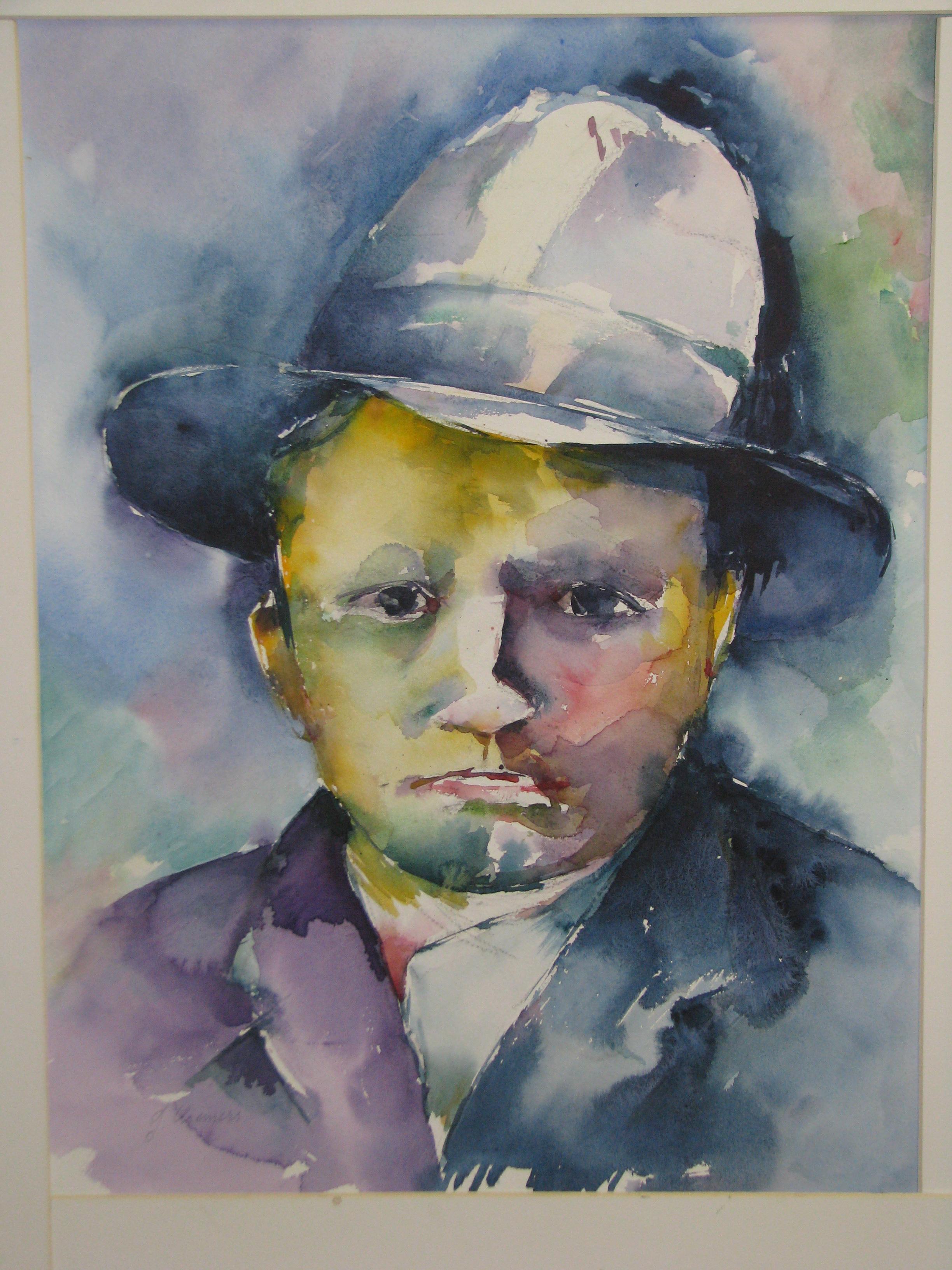 Man met hoed afm. hxbr 75x60 cm incl. p.p. cat.nr. 67